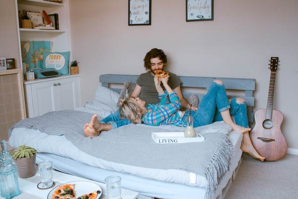 Couple staying in bed