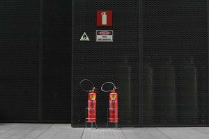 Fire safety signs and extinguishers