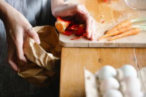 Food scraps on kitchen bench