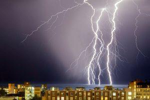 Lightning above buildings