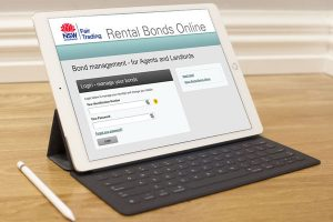 Rental bonds website on tablet