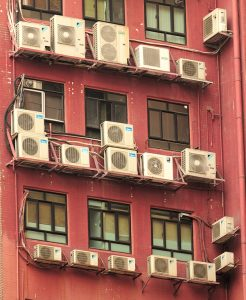 Too many air conditioner units on outside of building