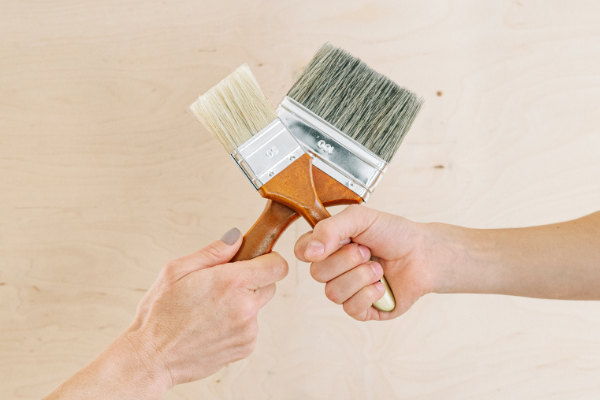 Paintbrushes held together