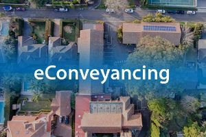 eConveyancing and aerial shot of land lots