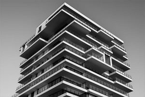 Large strata building black and white