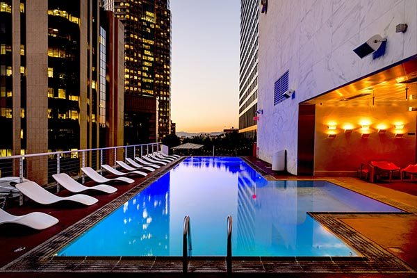 Pool in strata building with no people