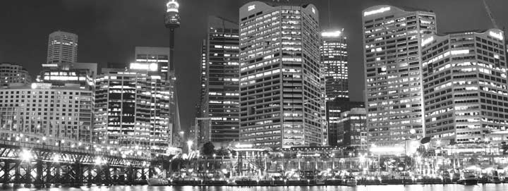 Sydney buildings at night